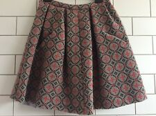 Welsh Tapestry Home Made Wool Skirt. Full Pleated With Pockets. Grey Red. S M