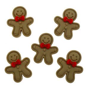 5pcs Gingerbread Man Christmas Resin Flatback Cabochons Craft Embellishments