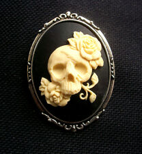 Skull with Roses Resin Cameo Brooch Gothic  60mm
