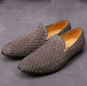Leather Weave Woven Loafers Men Driving Shoes Moccasin-gommino Chic Stylish B99