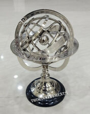 Nautical sholid Brass Chrome Armillary With Wood Black Base
