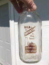 "Rare Allegheny Bottling Pittsburgh Pa One Qt Milk Bottle ""Milk As Important�"