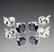 "1.34tcw REAL Natural Black Diamond Stud Earrings AAA Grade & $860 Value""'"