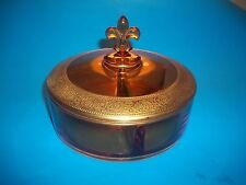 Vintage Fostoria Amber Covered Candy/Nut Dish Divided Etched Gold Trim Edge