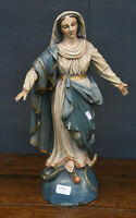 Antique French 1800s gothic wood carved MAdonna Figurine statue church religious