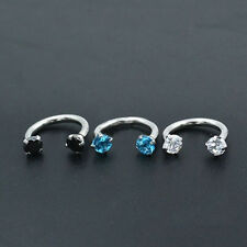 New Zircon Belly Ring Horseshoe Bar Lip Nose Septum Ring Stud Accessory