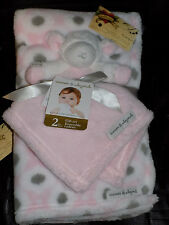 NEW BLANKET BEYOND SHEEP LOT 2 SECURITY & ALL PURPOSE COMBO PINK WHITE GRAY SOFT