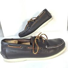 Clarks Yandle Vibe Brown Leather Boat Shoes Lace Up Mens Size 11.5 Loafers EUC