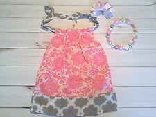 girls toddler pillowcase dress outfit set pink grey lot chunky bead clip 4-6 yr