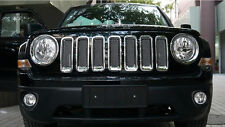 For Jeep Patriot Chrome Front Mesh Grill + Headlight Cover Trim 2011-2017 9PCS