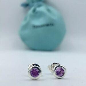 Tiffany & Co Silver Elsa Peretti Purple Amethyst By Yard Earrings w/ Pouch & Box