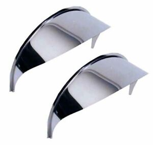 "5"" - 7"" Round  Headlight Visors 1 Pair - Set of 2 - Stainless Steel"