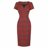 Hearts and Roses London Red Tartan Retro Vintage Wiggle Fitted Pencil Dress