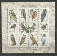 UKRAINE -2003 Birds - Owls of Ukraine - MUH MINIATURE SHEET