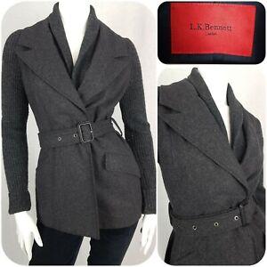 L K Bennett Grey Wool Jacket Size 8 Belted Flannel Blazer Ribbed Knit Sleeves