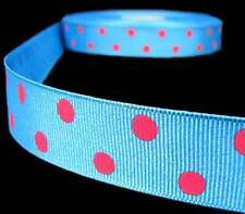 "5 Yards Blue Pink Polka Dot Polkadot Grosgrain Ribbon 7/8""W"