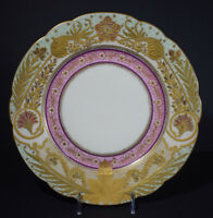 Set Of 4 Incredible Limoges Heavy Raised gold Dinner Plates Green.