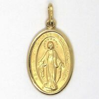 Medal Miraculous, Virgo Mary Jane, Yellow Gold 750 18K, Solid, Made IN Italy