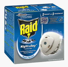 Repellent RAID Mosquito Tiger Insect 3-Pin Plug in Diffuser & Refill Night & Day