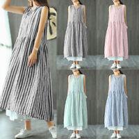UK Womens Stripe Summer Loose Long Dress Ladies Kaftan Baggy Casual Maxi Dresses
