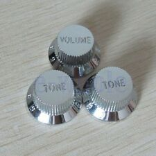 Chrome Guitars Strat Control Knob 1-Volume 2-Tone For Fender Stratocaster HM