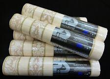 13374-10-)  6 Rollen Vliestapeten schicke Streifen creme beige gold mit Glanz