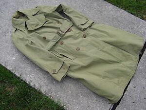 Vintage WW2 US Army WAC light Green Rain/Trench Jacket Coat Sz sm.  Brown Button