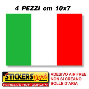 * 4PZ. Adesivo BANDIERA ITALIANA cm10x7 adesivi bandiera italiana tricolore