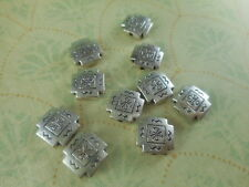 28 Silver Plated Santa Fe Square Beads Findings 62770p