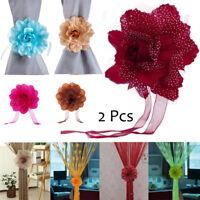 2PCS Peony Flower Curtain Clips Tie Backs Holdback Tieback Holders Panel Decor