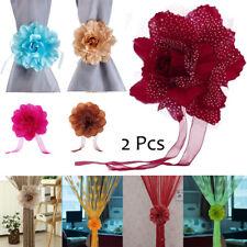 2pcs Peony Flower Curtain Clip-on Tie Back Holdback Tieback Holder Panel Decor