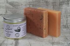 Handmade Avocado Body Butter Patchouli scented and 2 natural cruelty free soaps