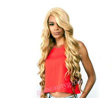 Human Blend Hair Wig Long Loose Wavy With Bang Remy Touch Honey Blonde 30 D