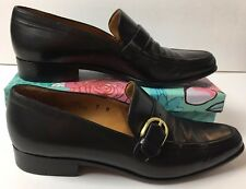 Women's Coach J004  Sz 7M Loafers Heels Shoes Black Leather Buckle Made Italy C5