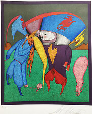 """Mihail Chemiakin """"Meeting"""" - Rare Lithograph HAND SIGNED / NUMBERED - original"""