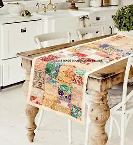 Tapisserie Murale Inde Chemin de Table Patchwork Handmade Broderie Beige