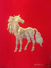 """Impression à la feuille d'or. """"Mon cheval est un empire"""".Yves Brayer."""