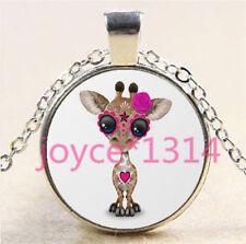 Sugar Flower Giraffe Cabochon Tibetan silver Glass Chain Pendant Necklace #6211