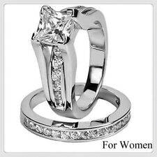 New Women's Fashion Silver Princess Cut Wedding Engagement Ring Set Size 6