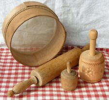 More details for vintage wooden flour sieve rolling pin & butter moulds * country kitchen
