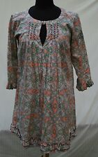 Odd Molly Uncorporated Womens 2  M  Vtg Print Mini-dress Tunic Dress Atlas Frill