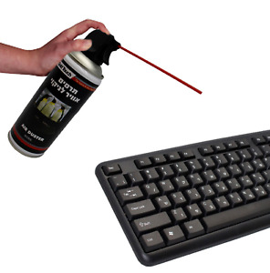 DUSTER SPRAY 400 ML COMPRESSED AIR PRESSURE  CAN CLEANS COMPUTER KEYBOARDS