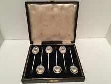Birmingham 1937 Boxed Set 6 Solid Silver Coffee Bean Spoons