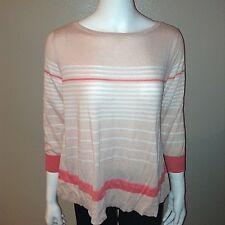 Halogen Knit Top Size M Medium Womens Sweater Blouse Shirt Pink Striped