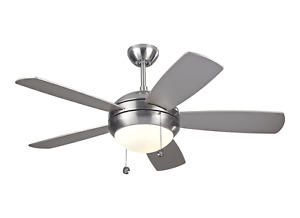 """Monte Carlo 5DI44BSD Discus II 44"""" Brushed Steel Ceiling Fan with Light Kit"""
