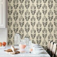 NuWallpaper NU2459 Folk Tulip Neutral Peel & Stick Wallpaper Free Shipping