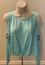 Honey & Sparkle Seafoam Green Long Sleeve Cold Shoulder Shirt Women Size Large