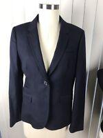 J. CREW Tall classic schoolboy blazer linen Navy Blue SZ 6 T JACKET