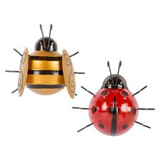 1 GIANT Garden BEE & LADYBIRD Fence Wall Tree Mounted METAL Ornament Decorations