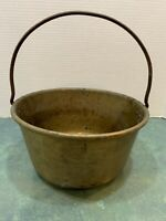 Vintage Brass Metal Pot Bucket Kettle Country with Fixed Iron Handle *3 Cracks*